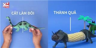 Làm vật dụng giữ bắp hình khủng long ngộ nghĩnh