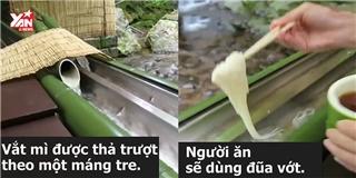 Lạ mắt với món mì lạnh trượt ống tre có 1-0-2 của người Nhật