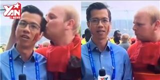 Tường thuật Euro 2016, phóng viên Việt Nam bị  cưỡng hôn trắng trợn