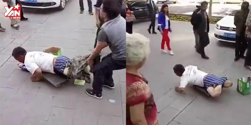 Giả dạng tàn tật để xin ăn, kẻ lừa đảo bị vạch trần giữa phố