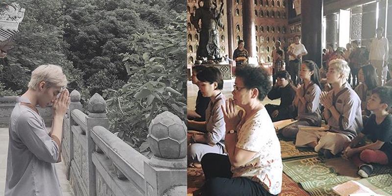 yan.vn - tin sao, ngôi sao - Sơn Tùng mặc áo lam giản dị lên chùa cầu an cho nhạc sĩ An Thuyên