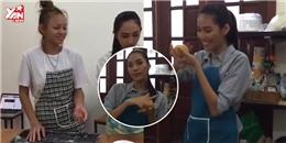 Mai Ngô để mặt mộc không chân mày làm bánh cùng team Lan Khuê