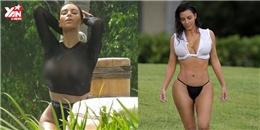 """Kim Kardashian lại """"đốt mắt"""" người xem với với loạt áo tắm """"có như không"""""""