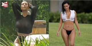 Kim Kardashian lại  đốt mắt  người xem với với loạt áo tắm  có như không