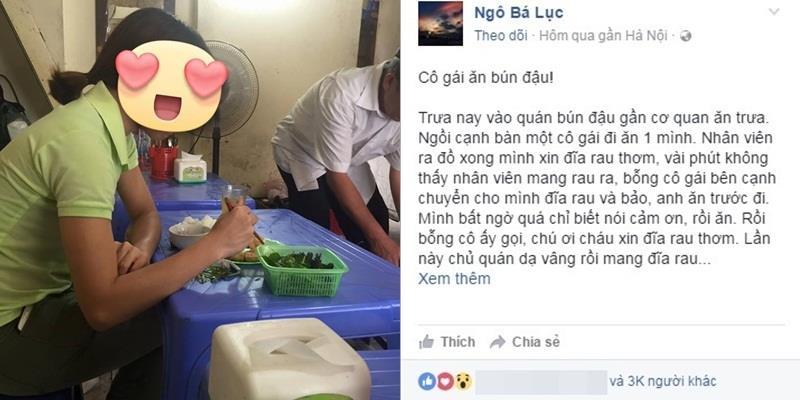 Lòng tốt giản dị của cô gái ăn bún đậu khiến cộng đồng mạng nức lòng