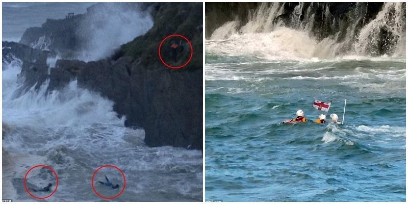 Rợn người cảnh hai cậu bé liều mạng nhảy vào sóng to giữa cơn bão lớn