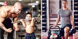 Dân mạng phát sốt với khoảnh khắc bố con cùng nhau tập thể dục