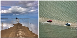 Kì lạ con đường giữa biển đều đặn... biến mất hai lần một ngày