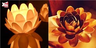 Cách làm đèn lồng hoa sen bằng muỗng nhựa