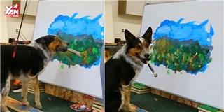 Há hốc mồm  với bức tranh phong cảnh hoàn hảo do chó vẽ