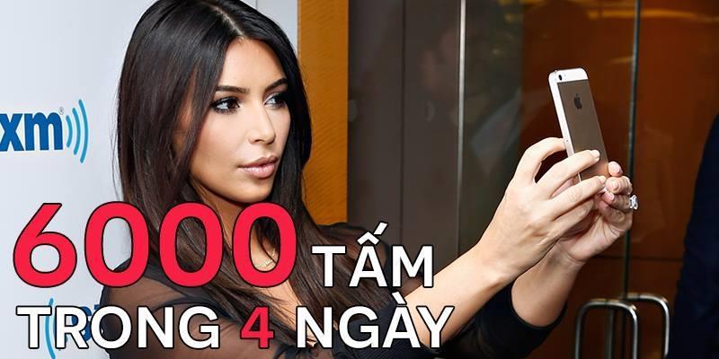"""6000 ảnh tự sướng trong 4 ngày, Kim xứng danh """"thánh"""" sống ảo"""