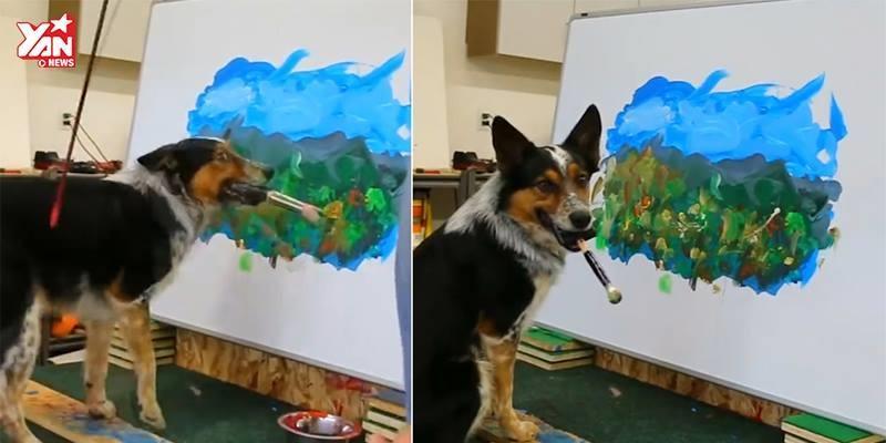 """""""Há hốc mồm"""" với bức tranh phong cảnh hoàn hảo do chó vẽ"""