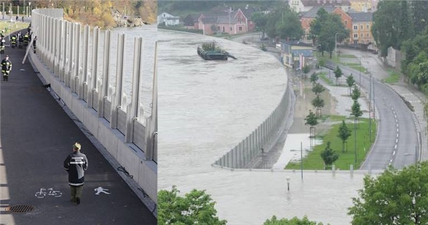 Chống lũ ở Áo: Nước lên, tường cũng lên