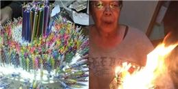 Đây hẳn là bà nội hạnh phúc nhất thế giới dù phải 'đốt bánh sinh nhật'