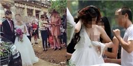 Pháo giấy báo hại, cô dâu 'tụt váy' trong đám cưới