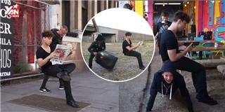Kì lạ thanh niên ngồi trên chiếc ghế tàng hình giữa đường