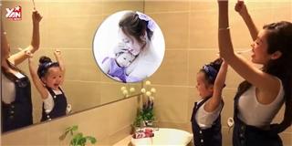 Hai mẹ con Elly Trần và Cadie Mộc Trà tập đánh răng siêu đáng yêu