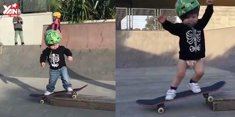 Bất ngờ trước khả năng trượt ván của cậu bé 22 tháng tuổi