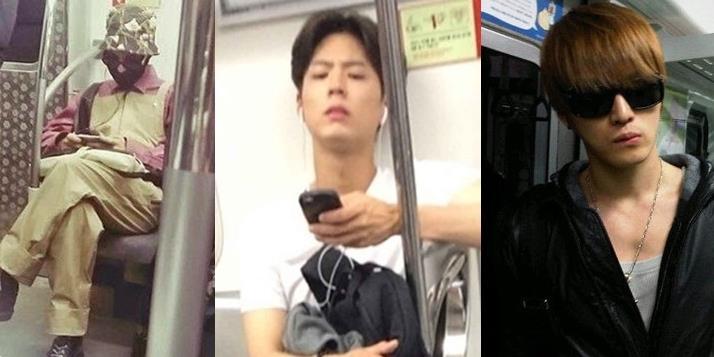 """yan.vn - tin sao, ngôi sao - Khi sao Hàn hóa """"thường dân"""" xuất hiện trên tàu điện ngầm"""