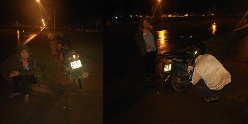 Ấm lòng hành động nghĩa hiệp với người phụ nữ gặp nạn trong đêm mưa