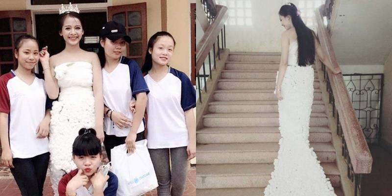 """Chiếc váy """"độc"""" làm từ 3.000 bông hoa giấy của học sinh Việt gây sốt"""