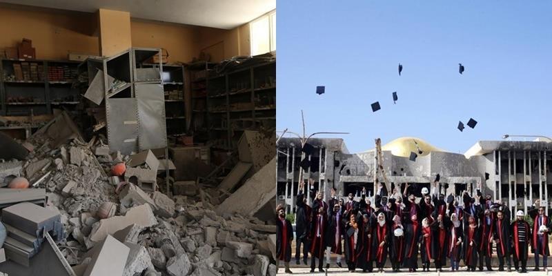 Bộ ảnh kỷ yếu độc đáo chụp trong trường đại học tan hoang vì bom đạn