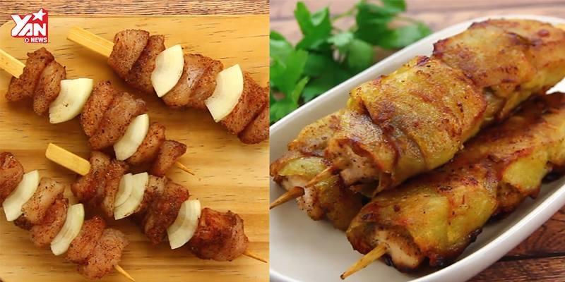 Trổ tài làm món gà xiên bọc khoai tây vừa ngon miệng lại dễ làm