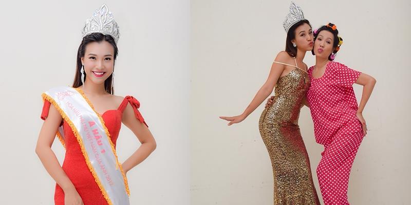 """Á hậu Hoàng Oanh cười sung sướng khi đăng quang""""Hoa hậu Ao làng"""""""