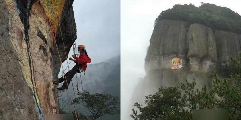 Dân mạng ngưỡng mộ cô gái khắc hình người yêu lên núi cao để tỏ tình