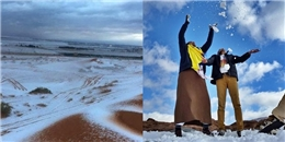 Tuyết rơi bất ngờ giữa sa mạc khô cằn ở Ả Rập