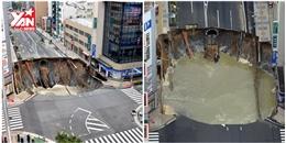 Hố tử thần ở Nhật Bản vừa sửa xong lại bị sụp lún