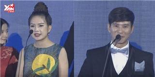 Minh Hà bối rối phiên dịch tiếng Anh cho ông xã Lý Hải khi nhận giải