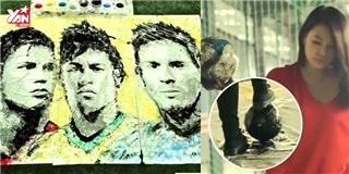 Cô gái Việt gây bất ngờ khi vẽ Ronaldo, Neymar, Messi bằng trái bóng
