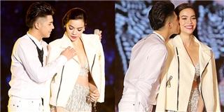 Noo Phước Thịnh ga-lăng khoác áo và hôn nhẹ Hồ Ngọc Hà trên sân khấu