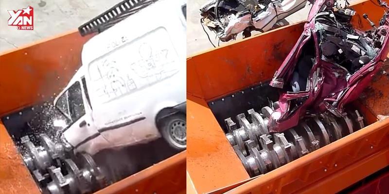 """Kinh hoàng cỗ máy nghiền nát cả một chiếc xe hơi """"dễ như mía"""""""