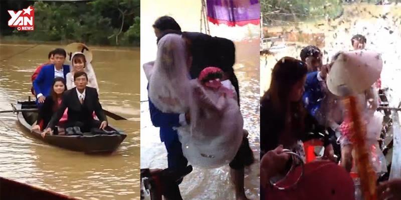Lũ ngập đường, chú rể chèo thuyền, lội nước bế cô dâu