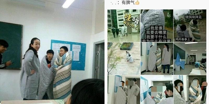 Hai nam sinh Trung Quốc chống lạnh bằng cách quấn chăn đến trường