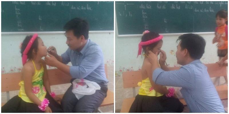 Thầy chủ nhiệm tự tay trang điểm cho học trò ngon lành hơn cả cô giáo