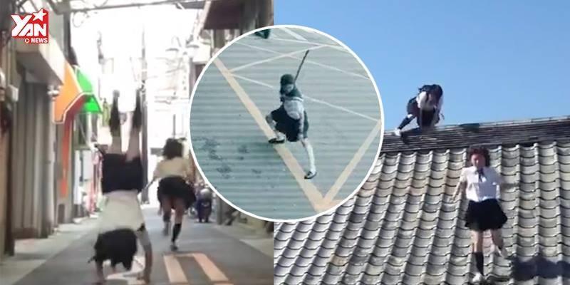 Hoa mắt với màn nhào lộn, múa võ của nữ sinh trên đường phố