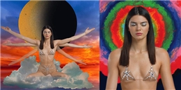 Kendall Jenner mặc bikini màu nude, ngồi thiền và luyện chưởng quái lạ