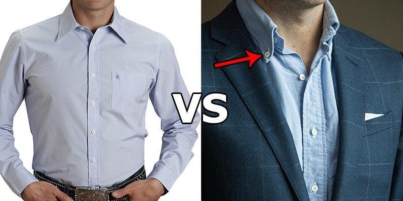 Sự khác biệt giữa áo sơ mi có nút và không nút trên cổ