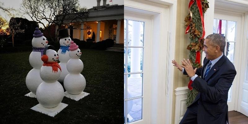 Trò đùa tại Nhà Trắng: Tổng thống Obama hoảng hốt vì người tuyết