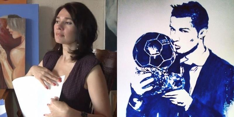 """Nữ họa sĩ vẽ chân dung Ronaldo bằng đôi """"gò bồng đảo"""" nóng bỏng"""