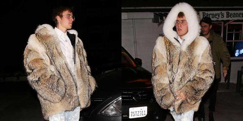 yan.vn - tin sao, ngôi sao - Justin Bieber lại bị lên án gay gắt vì diện áo choàng lông thú đi chơi