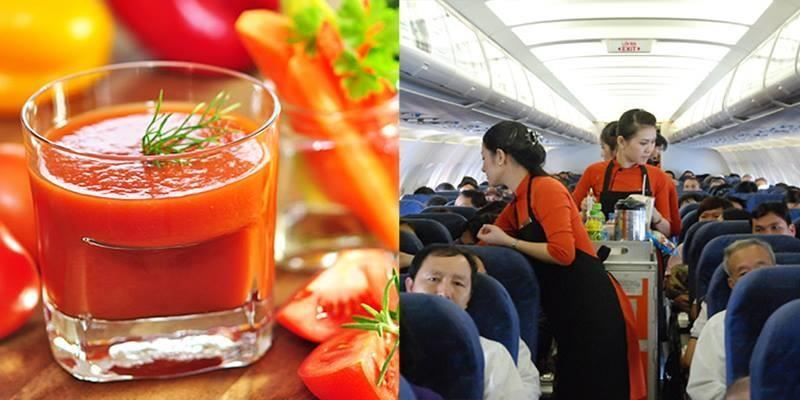 Tại sao người ta hay uống nước cà chua khi trên máy bay?