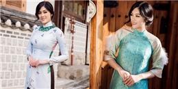 Huỳnh Tiên khoe dáng với áo dài cách tân trên đường phố Seoul