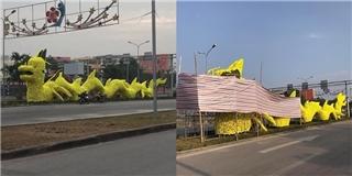 Hải Phòng: Tháo gỡ hoa trên hình tượng rồng vàng gây tranh cãi