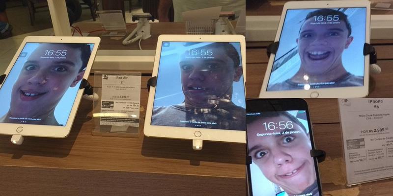 """""""Thánh lầy"""" vô cửa hàng điện thoại selfie và đổi hình nền hàng loạt"""