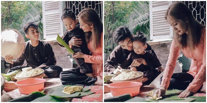 Khánh Thi - Phan Hiển giản dị cùng nhau gói bánh đón Tết