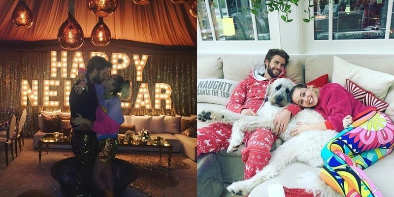 Miley và Liam đón chào năm mới ngọt ngào bằng nụ hôn hạnh phúc